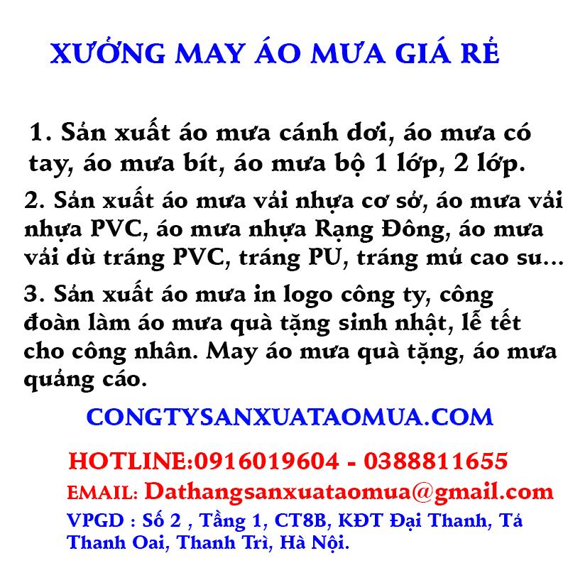 Xưởng may áo mưa giá rẻ tại Hà Nội
