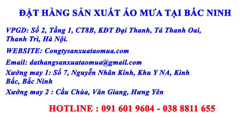 Đặt sản xuất áo mưa tại Bắc Ninh