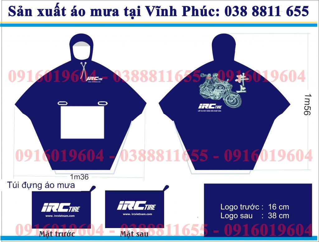 Sản xuất áo mưa quà tặng công ty IRC Vĩnh Phúc