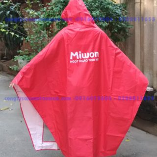áo mưa cánh dơi vải dù vân tổ ong màu đỏ tươi