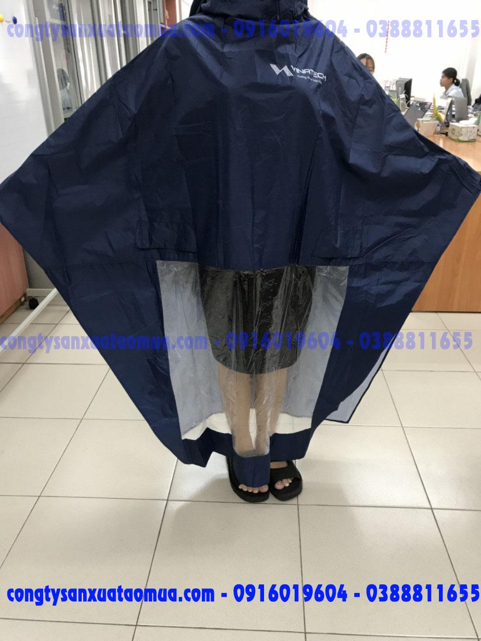 áo mưa dù không vân màu xanh tím than