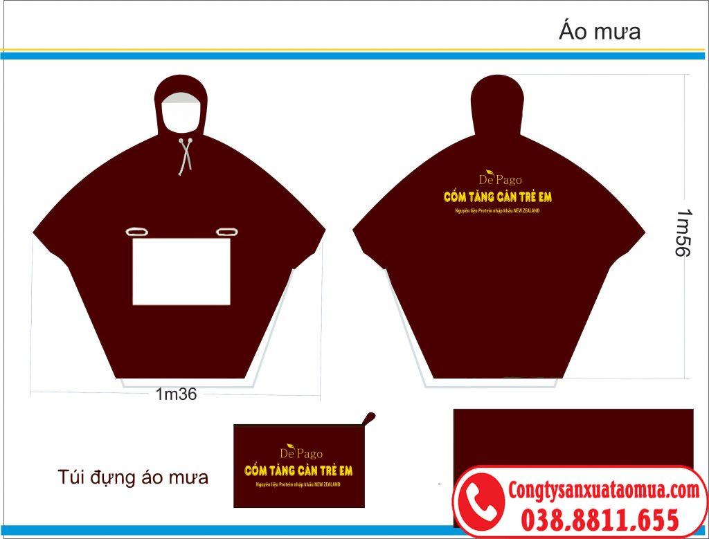 Mẫu áo mưa quà tặng quảng cáo sản phẩm in logo sau lưng và trên túi áo