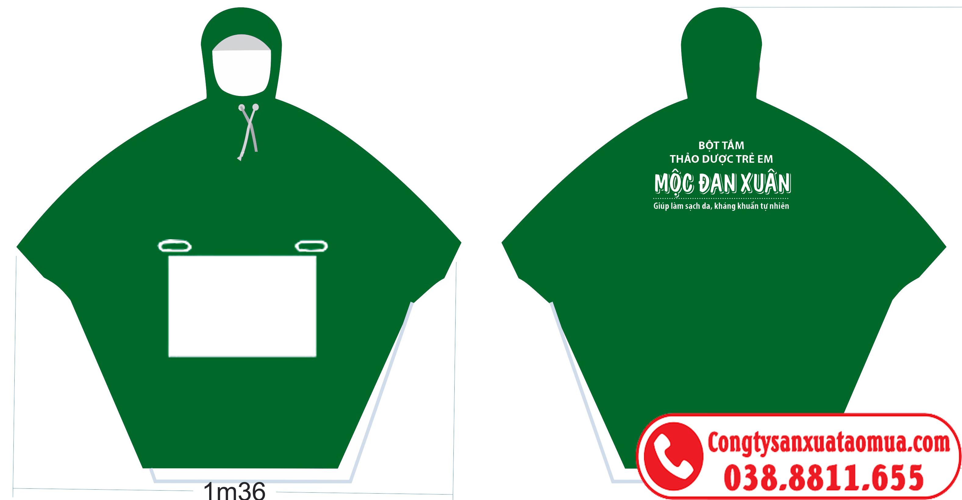 Aó mưa quà tặng in logo Mộc Đan Xuân