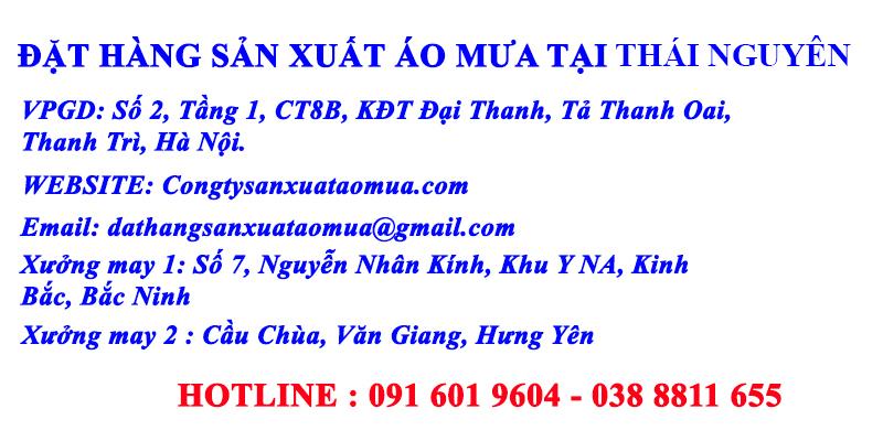 Liên hệ đặt may áo mưa quà tặng, áo mưa quảng cáo tại Thái Nguyên