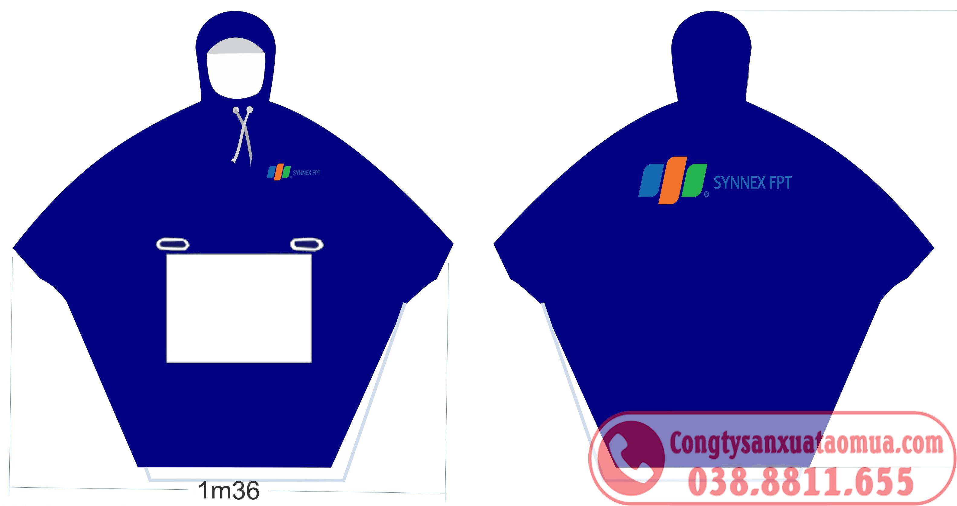 Mẫu áo mưa quà tặng in logo công ty FPT tại Thái Nguyên