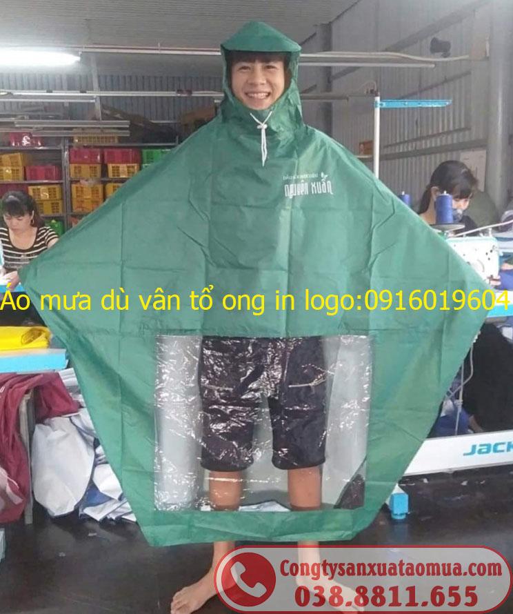 Sản xuất áo mưa dù vân tổ ong in logo