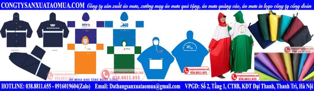 Công ty sản xuất áo mưa, xưởng may áo mưa quà tặng, áo mưa quảng cáo, áo mưa in logo công ty công đoàn tại Hà Nội