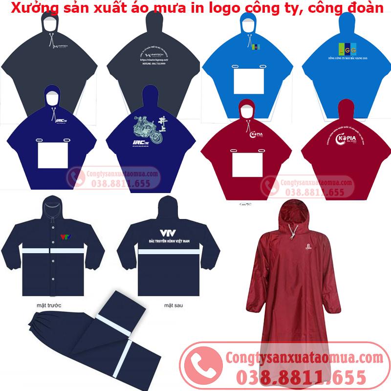 Sản xuất áo mưa quà tặng in logo công ty công đoàn