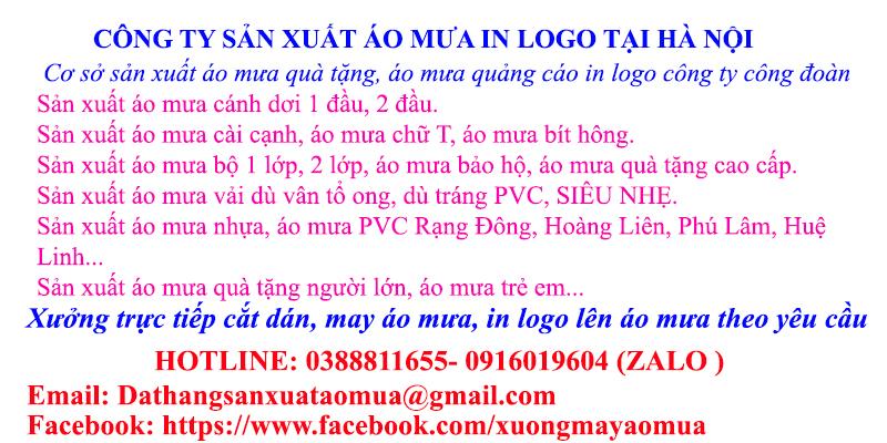 Công ty sản xuất áo mưa in logo giá rẻ tại Hà Nội