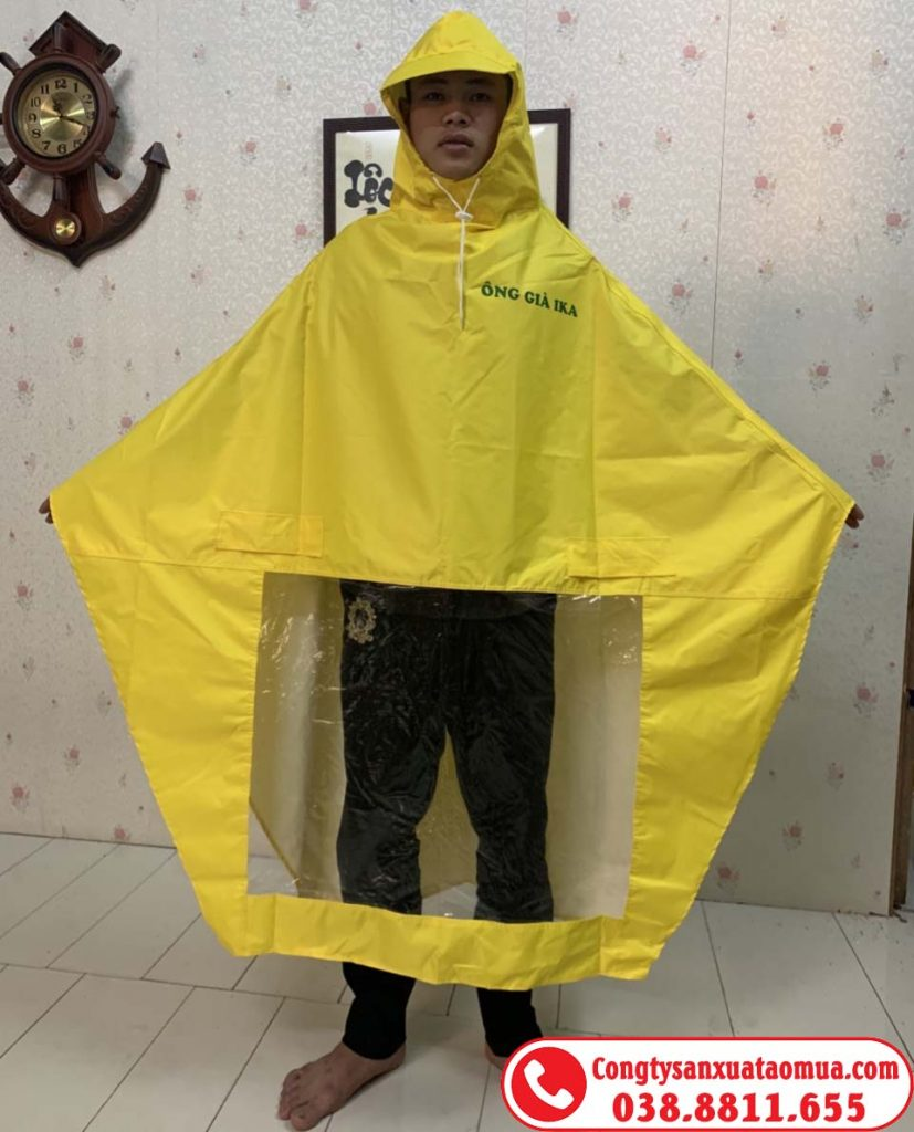 áo mưa cánh dơi một đầu in logo