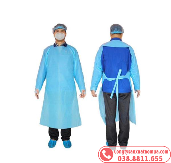 May gia công áo mưa bảo hộ chất liệu PE xuất khẩu Nhật
