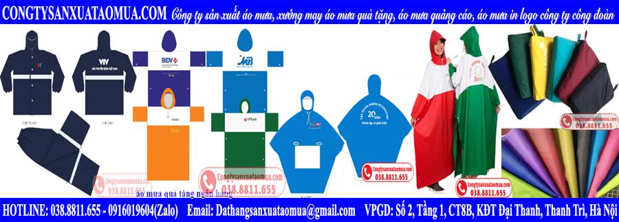 Các mẫu áo mưa quà tặng sản xuất tại xưởng
