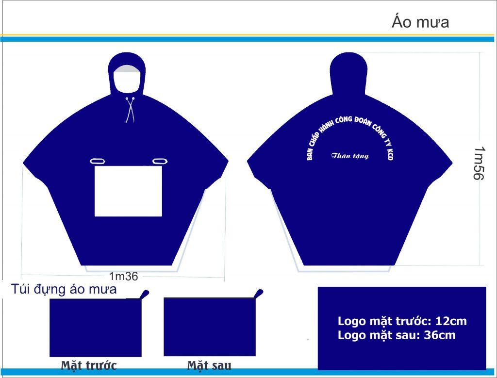 Sản xuất áo mưa quà tặng bạn chấp hành công đoàn công ty KCD