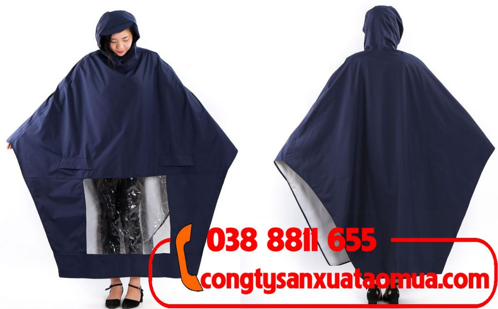 Sản xuất áo mưa cánh dơi 1 đầu vải dù vân tổ ong