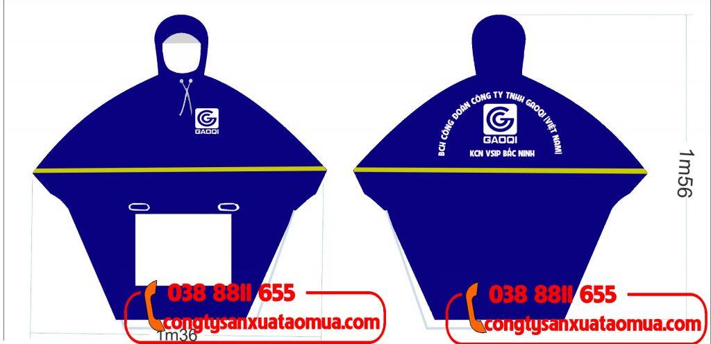 Sản xuất áo mưa in logo công đoàn công ty GAOQI tại khu công nghiệp Vsip Bắc Ninh