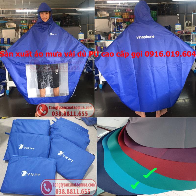 Sản xuất áo mưa quà tặng vải dù tráng PU cao cấp