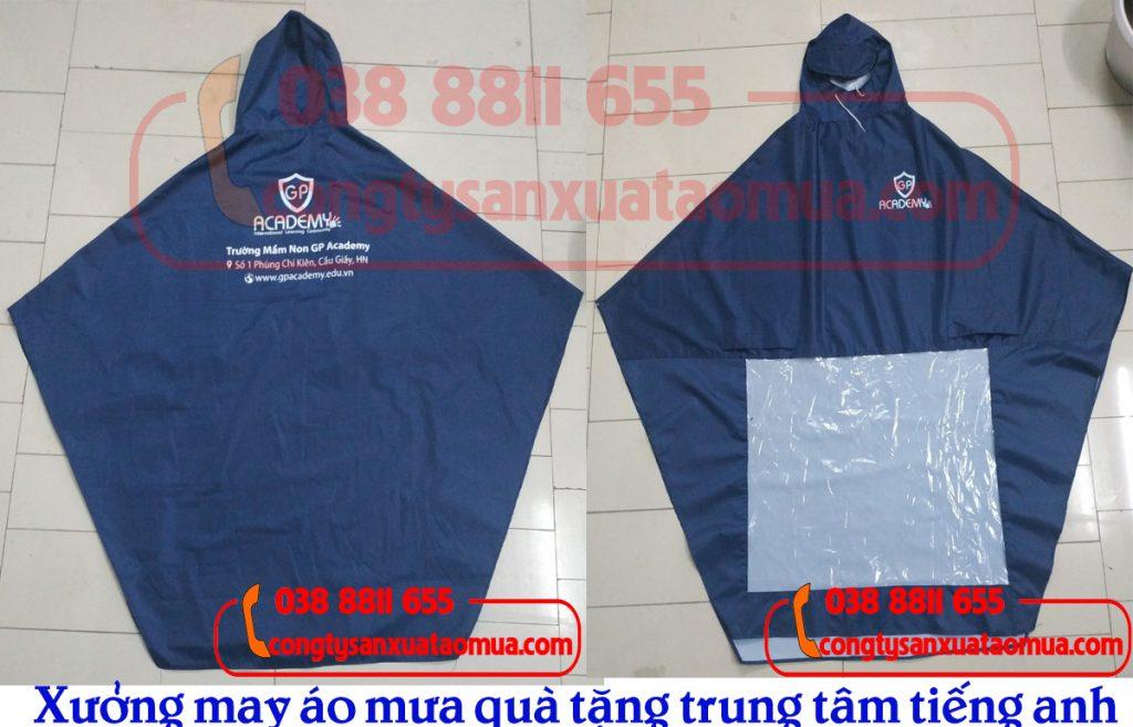 Xưởng sản xuất áo mưa quà tặng trung tâm tiếng anh tại Hà Nội