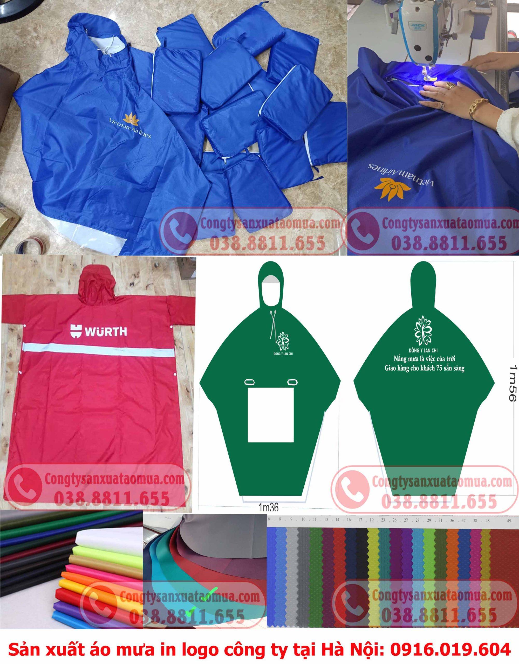 Xưởng sản xuất áo mưa in logo công ty