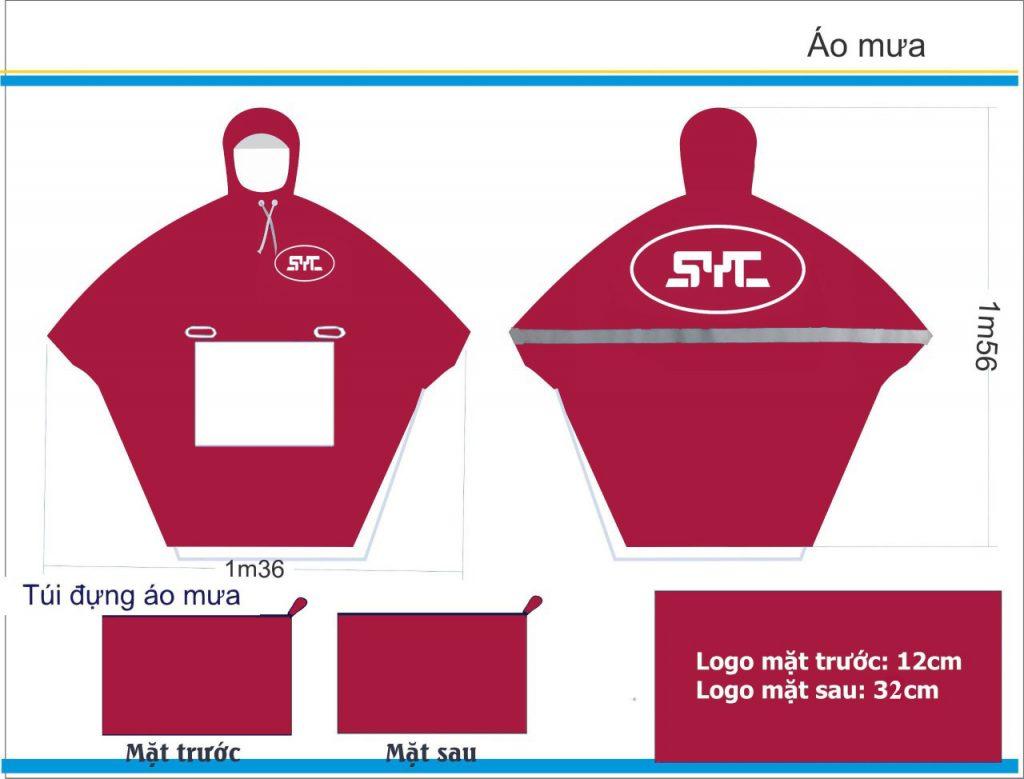 Sản xuất áo mưa quà tặng in logo công đoàn công ty SYC tại Thái Nguyên