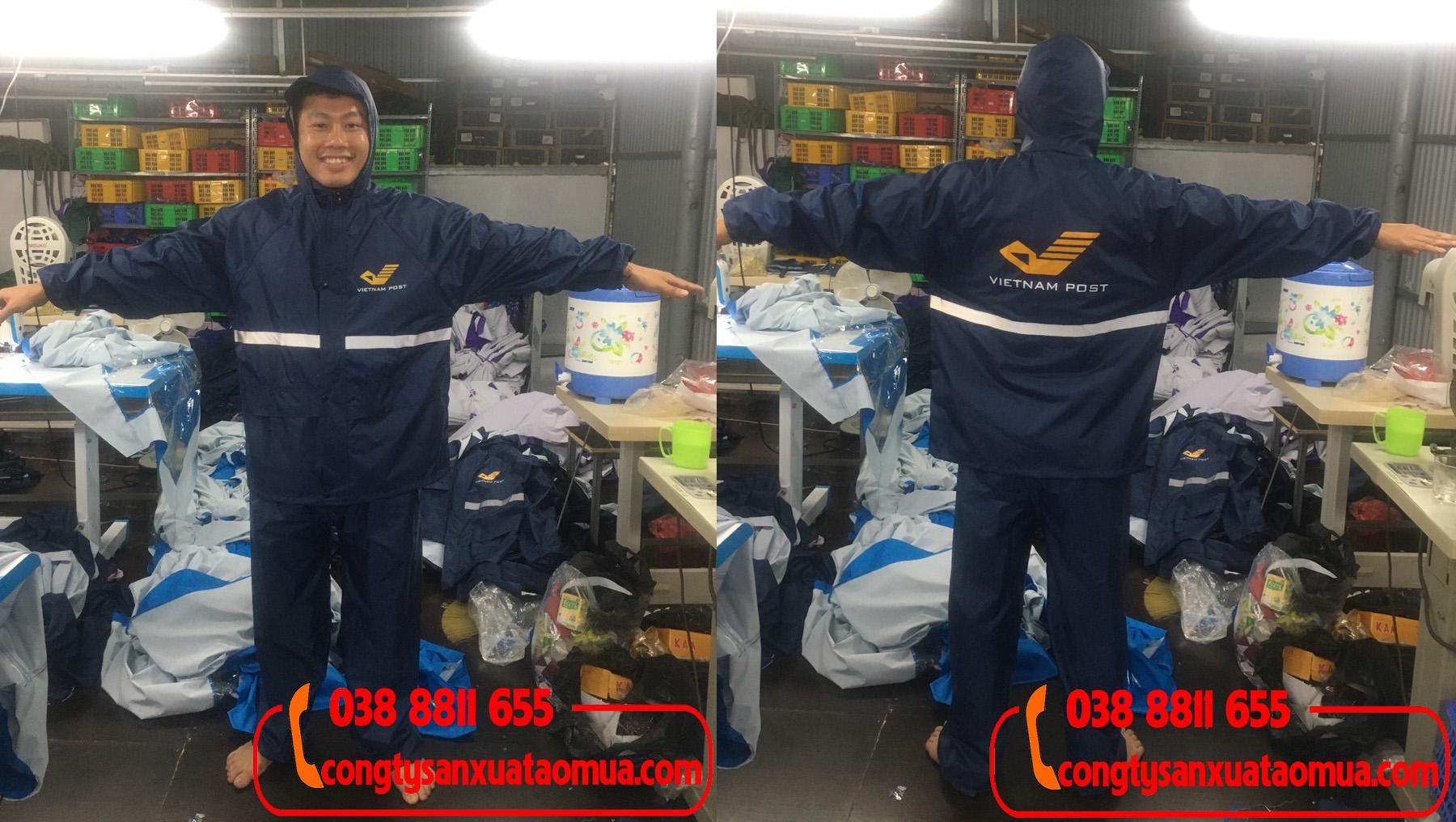 Công ty sản xuất áo mưa bộ 1 lớp in logo tại Hà Nội