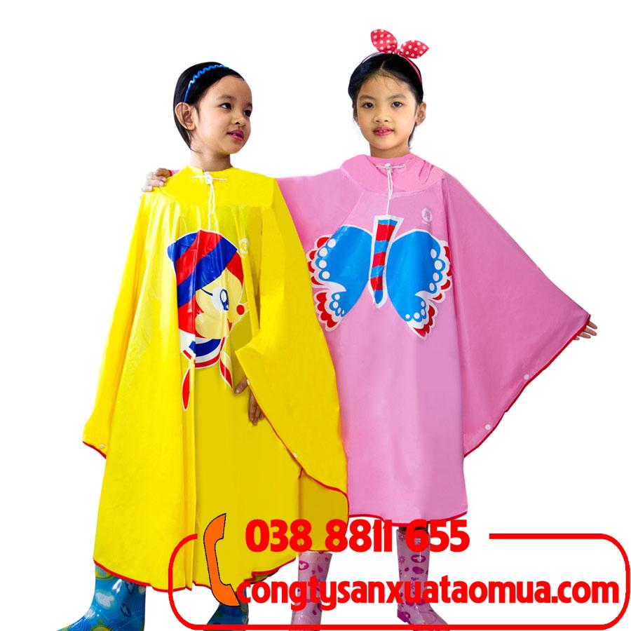 May áo mưa trẻ em, in logo, hình ảnh ngộ nghĩnh lên áo mưa cho bé