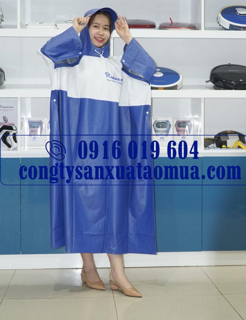 Sản xuất áo mưa quảng cáo chất liệu PVC giá rẻ in logo tên công ty