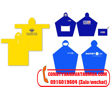 Sản xuất áo mưa quà tặng quảng cáo công ty bảo hiểm, ngân hàng