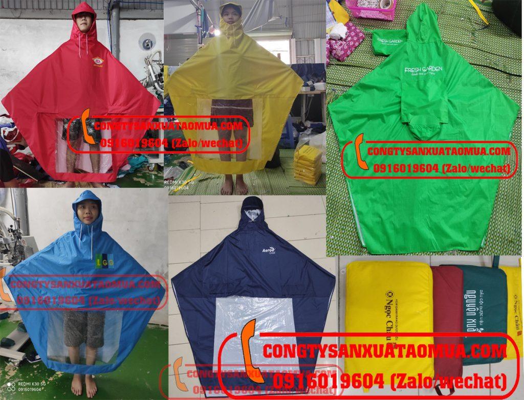 Xưởng may áo mưa vải dù quà tặng công nhân viên khách hàng có in logo công ty công đoàn, nhãn hàng