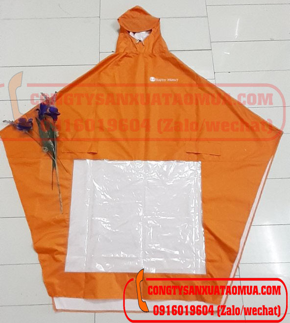 Sản xuất áo mưa cánh dơi vải dù vân tổ ong in logo màu cam