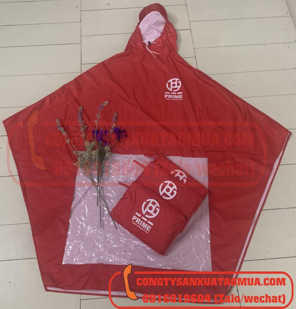 Sản xuất áo mưa quà tặng in logo công ty Prime tại Vĩnh Phúc