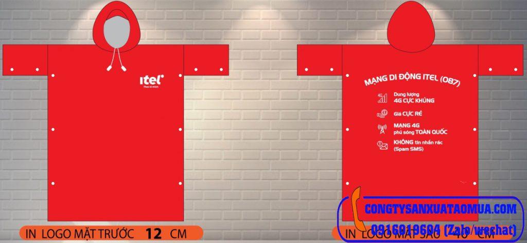 Thiết kế sản xuất áo mưa cài cạnh in logo theo yêu cầu