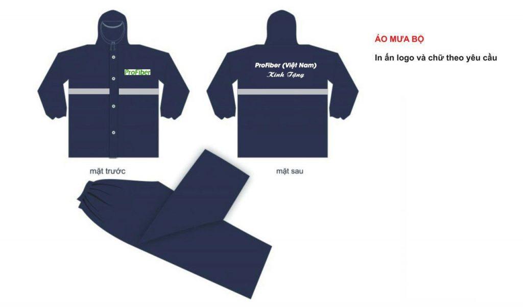 Thiết kê sin áo mưa bộ 1 lớp in logo công ty PROFIBER tại Vĩnh Phúc