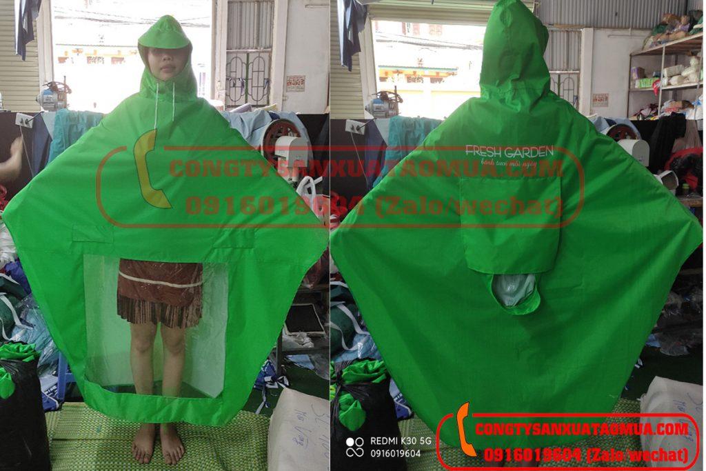 may áo mưa hai đầu quà tặng nhãn hàng Fresh Garden tại Hà Nội