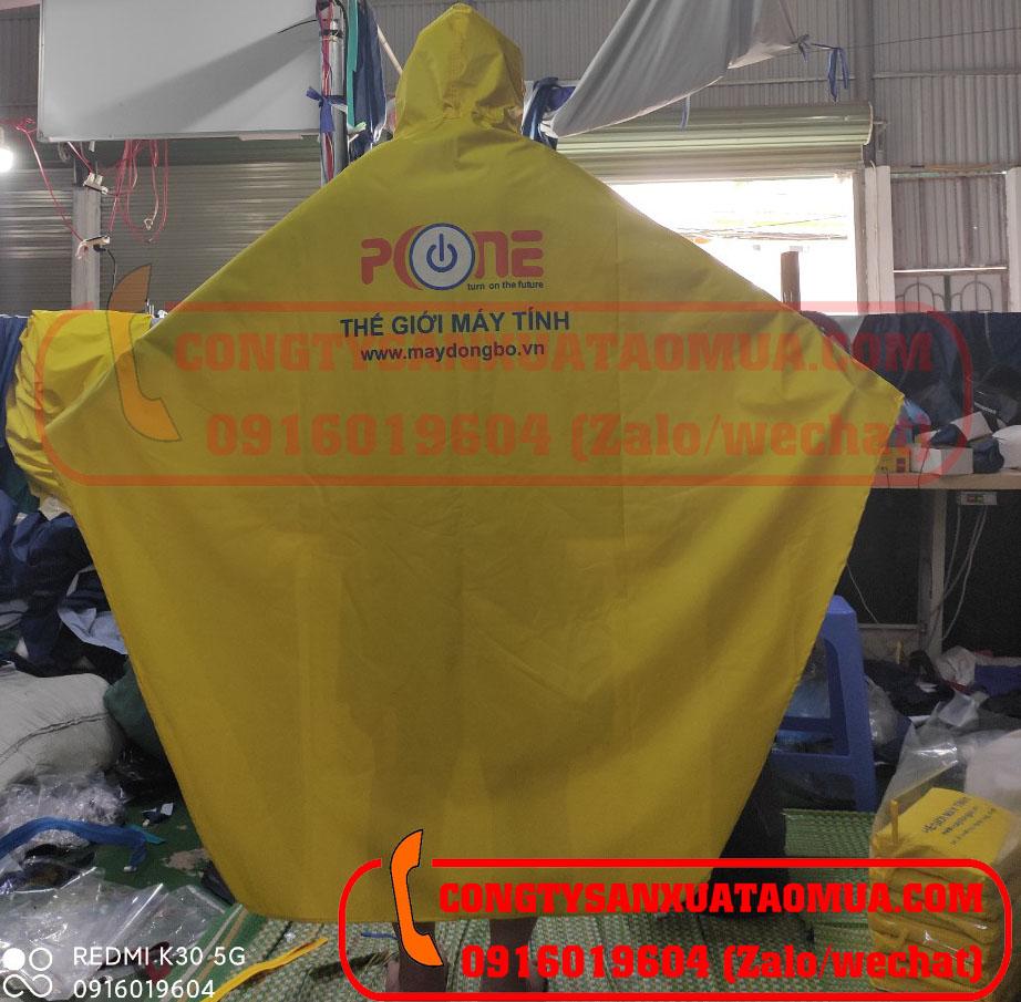 Sản xuất áo mưa quà tặng in logo cửa hàng thế giới máy tính