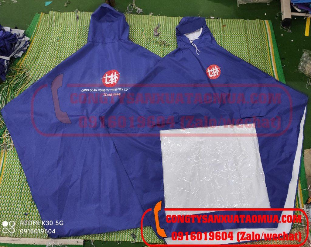 Sản xuất áo mưa vải dù tráng PU siêu nhẹ in logo công ty SHIHLIN trong khu công nghiệp Vsip Bắc Ninh