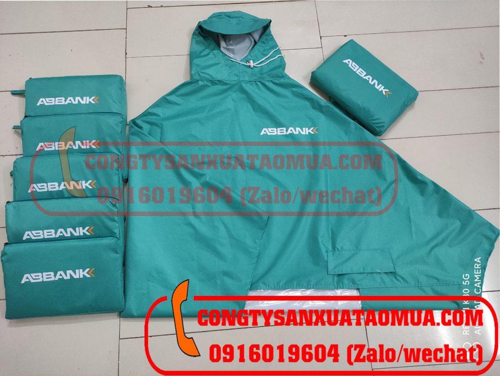 Sản xuất áo mưa vải dù vân tổ ong quà tặng ngân hàng ABBANK