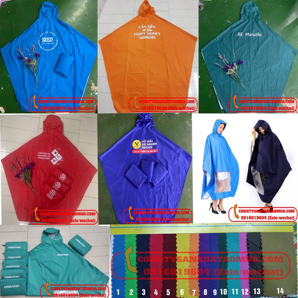 Xưởng sản xuất áo mưa từ vải dù vân tổ ong, in logo lên áo mưa theo yêu cầu