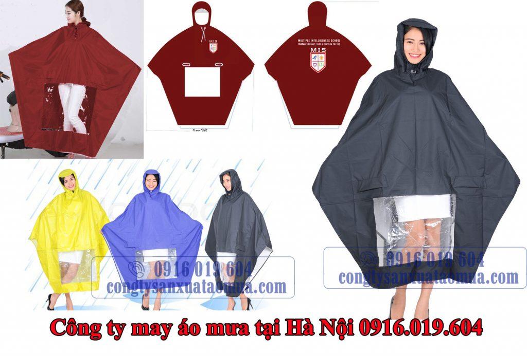 Sản xuất áo mưa cánh dơi và in logo lên áo mưa