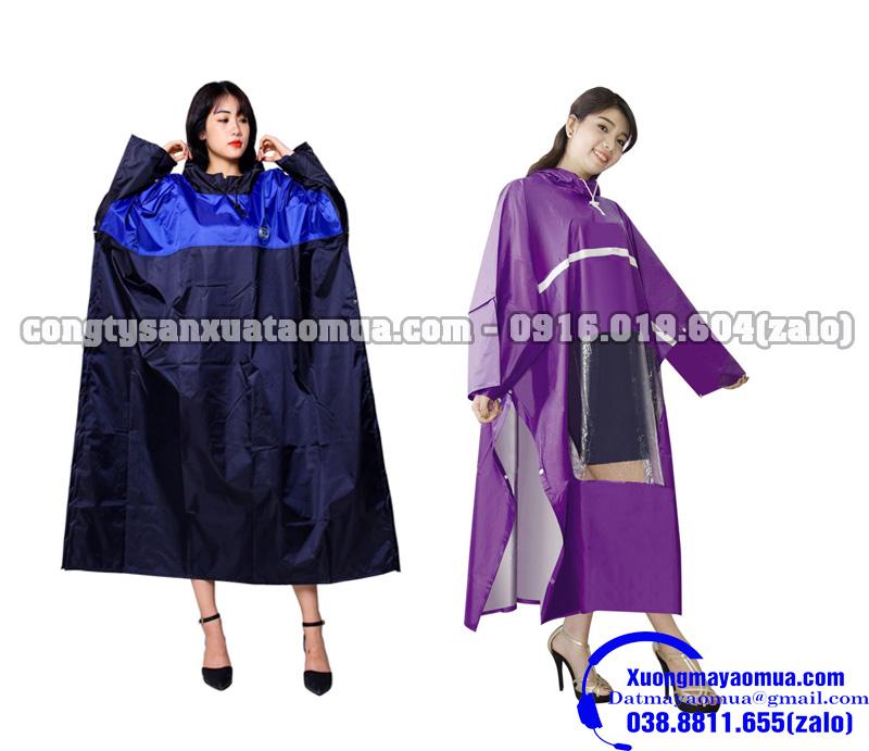 công ty sản xuất áo mưa cài cạnh dáng chữ T có cúc bấm tay và dọc hông áo