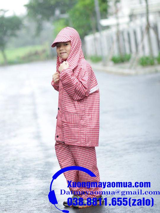 May áo mưa bộ trẻ em vải dù chống thấm họa tiết kẻ caro