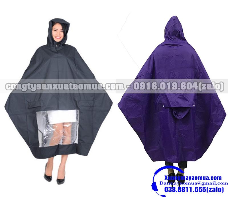 Công ty sản xuất áo mưa cánh dơi 1 đầu và áo mưa hai đầu in logo theo yêu cầu khách hàng