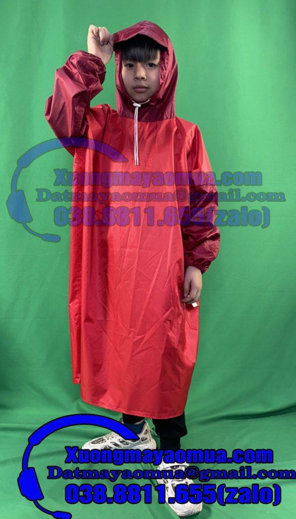 Sản xuất áo mưa trẻ em vải dù trơn có thể in logo