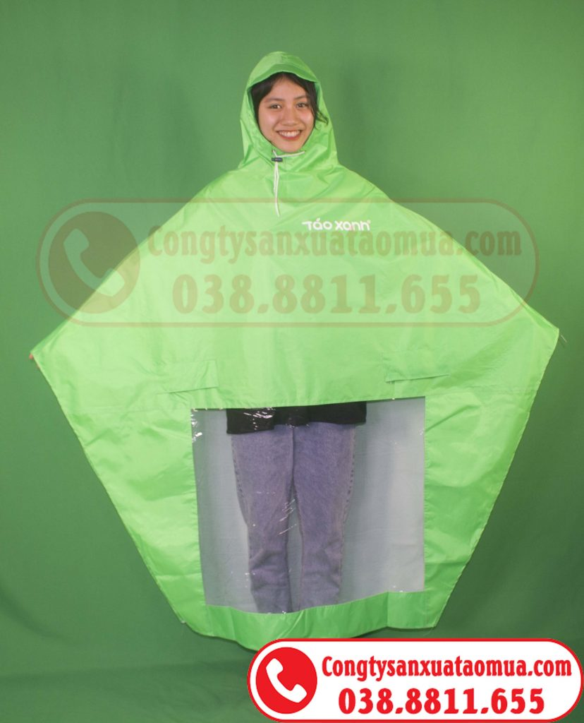 Sản xuất áo mưa cánh dơi vải dù vân tổ ong màu xanh cốm