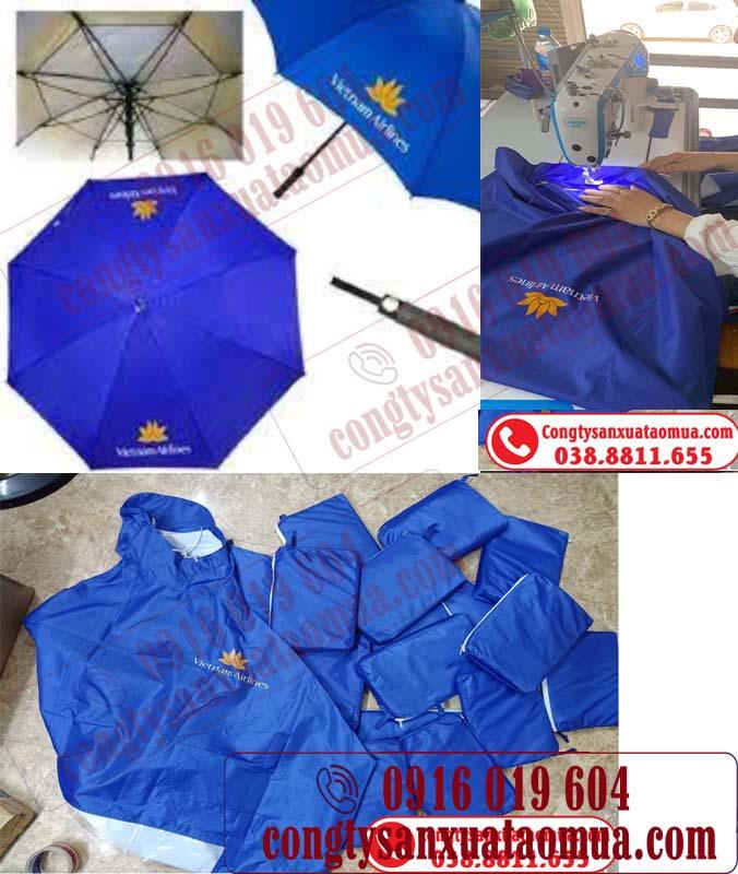 Cung cấp combo áo mưa và ô quà tặng in logo cho vietnamairlines