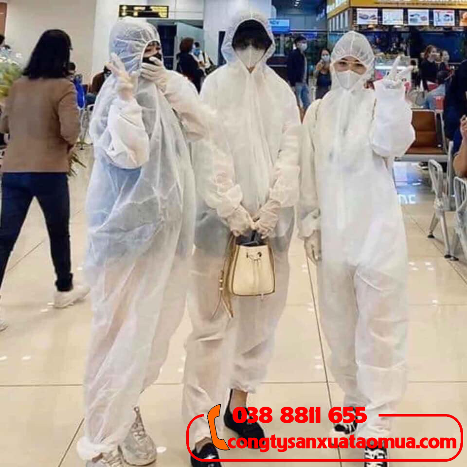 Gia công bộ đồ phòng dịch y tế dùng 1 lần màu trắng