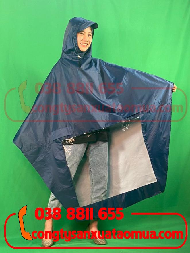 May áo mưa cánh dơi vải dù màu xanh đen